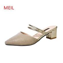 купить Female High Heels Women Sandals Mujer 2018 Nouveau Mules Dames Schoenen Scarpe Donna Strap Thick Heels Chaussures Femme Slipper по цене 1366.12 рублей