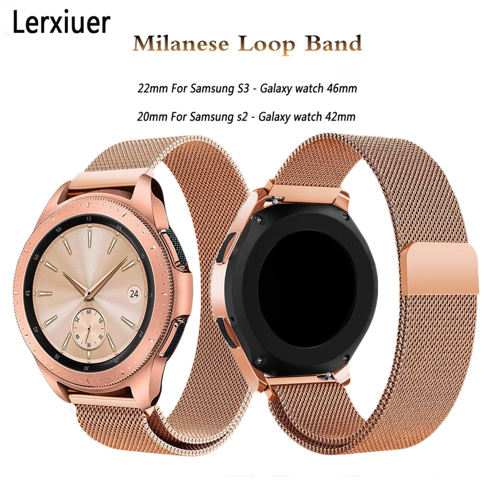 Galaxy Watch Active Strap For Samsung Galaxy Watch 46mm Gear S3 Frontier/S2 42mm Milanese Loop Stainless Steel Band Bracelet