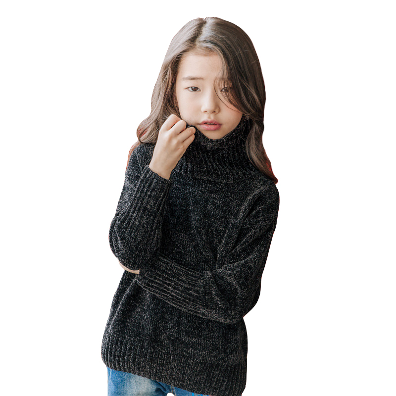 winter black shine sweater age for 4 - 14 yrs teenage girls simple thick warm knit tops 2018 new autumn big girl fashion sweater 2017 fashion design pure hand made thick sweater coat women winter thick coarse linesthick warm high necked white sweater