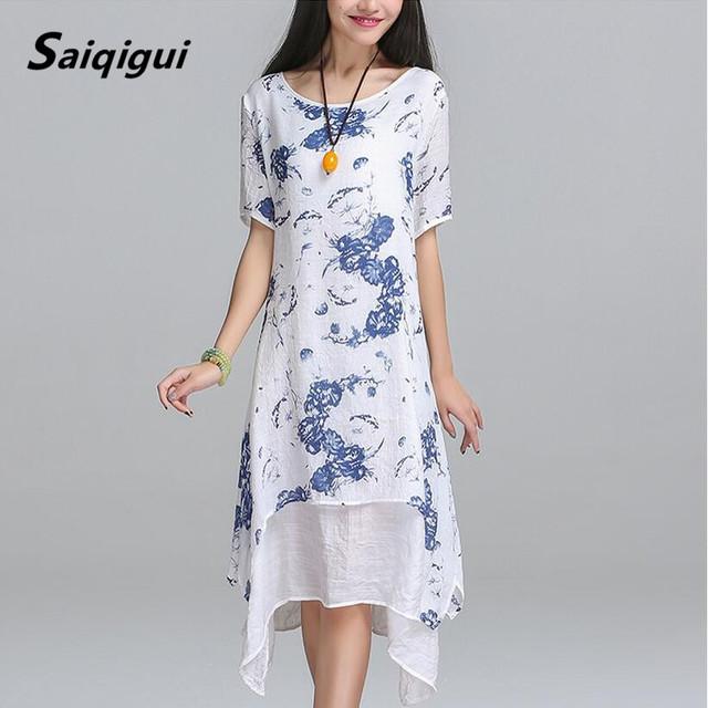 Saiqigui summer dress nueva manga corta blanca de las mujeres dress casual cotton linen dress impresión del o-cuello más el tamaño de vestidos de festa