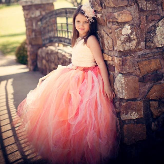 Elegante adolescente vestido Encaje Correas Rosa melocotón naranja ...