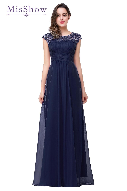 Elegant Open Back Cap Sleeve Vintage Lace Appliques Beaded Navy Blue Women Formal Party Gowns   Bridesmaid     Dresses