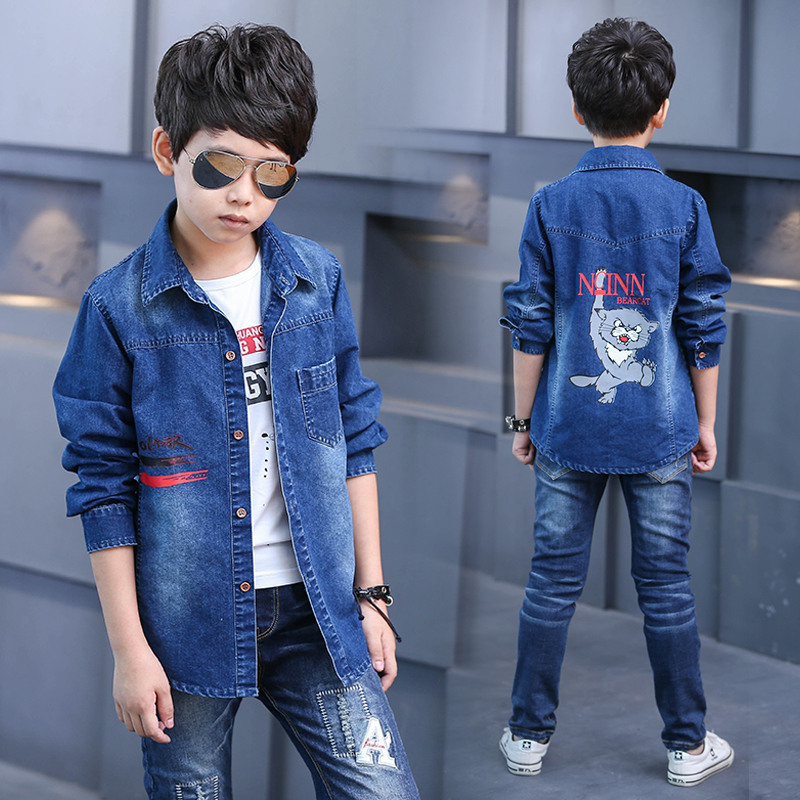 все цены на Kids Jean Jacket 2017 New Denim Coat for Boys Kids Denim Jacket Children Overcoat Outerwear Boys Cat Print Fabric Denim Jacket