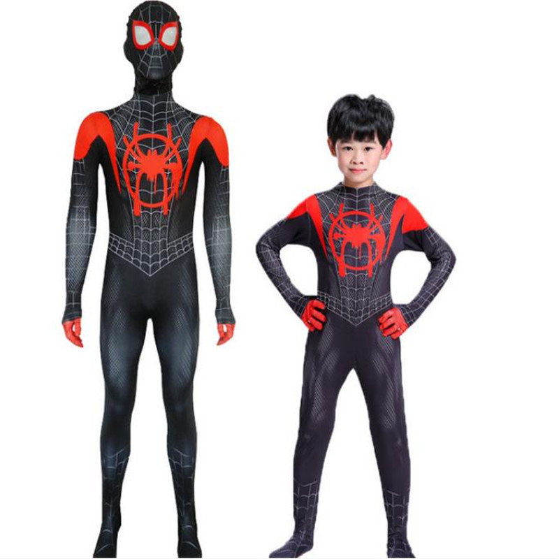 New Era Parallel Universe Spider Man Black Spider Cosplay Costume Anime Zentai Jumpsuit Christmas Halloween Costume For Kids Men
