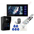 7inch Wired Touch Key Video Door Phone Intercom System 1 RFID Keypad Code Number Doorbell Camera 1 Monitor