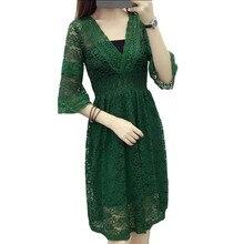 Модное сексуальное кружевное платье с v-образным вырезом женское перспективное винтажное летнее весеннее платье осеннее полурасклешенное вечернее платье с рукавом vestidos