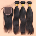 7A Unprocessed 3 bundles with closure brazilian virgin hair straight with closure virgin extension,human hair weave with closure