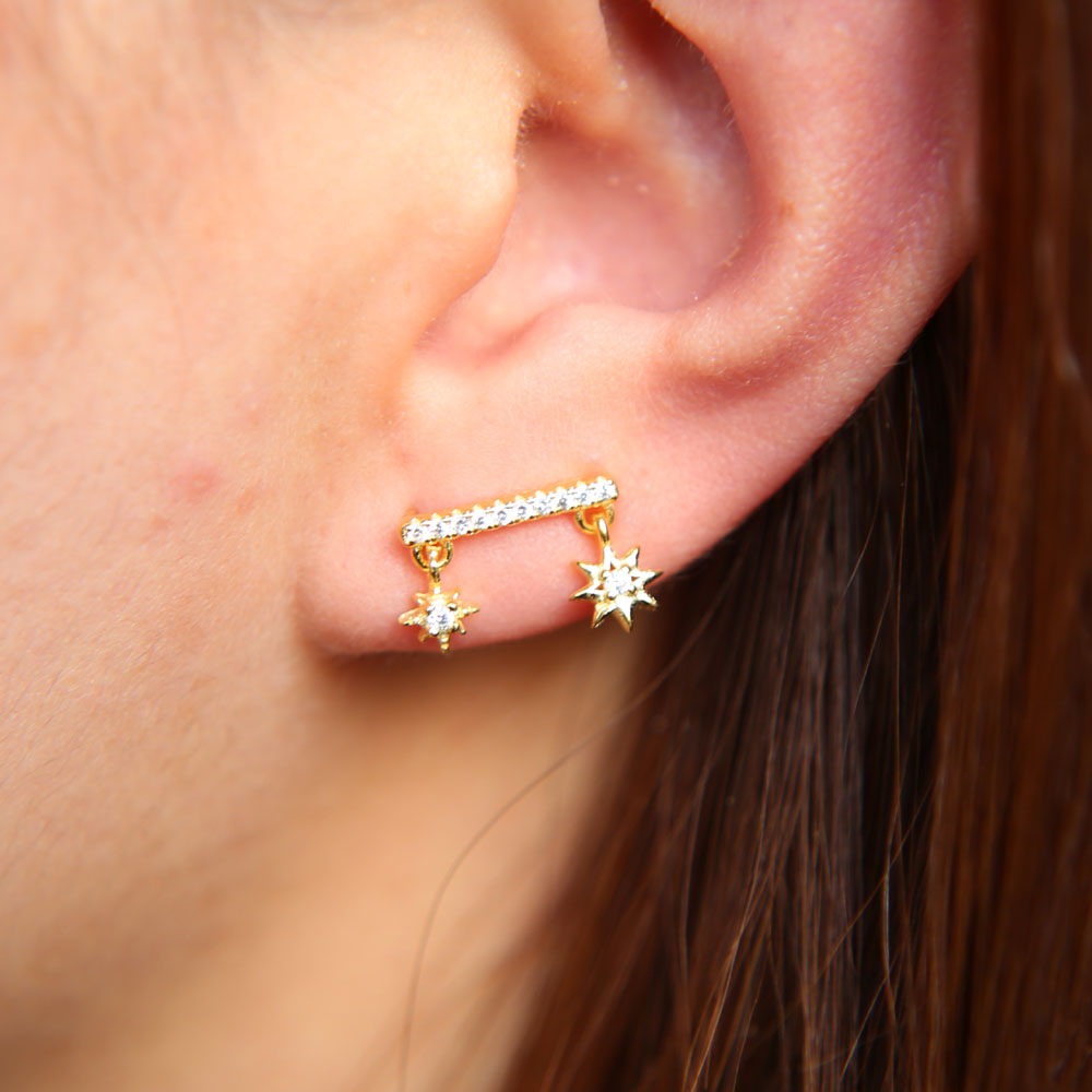earrings from are pin stone gold precious stud these semi delicate made cut