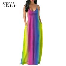 YEYA Bohemian Pockets Rainbow Print Summer Dresses Women Vacation Dress Tie Dye Flare Spaghetti Strap Deep V-Neck Maxi Dress все цены