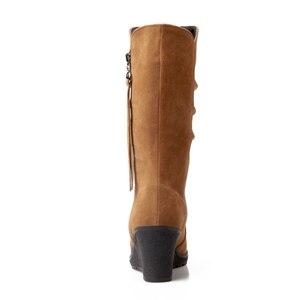 Image 3 - BONJOMARISA grande taille 34 43 qualité chaude automne hiver chaussures femmes mi mollet chaussure compensée femme Slip On plissé bottes déquitation