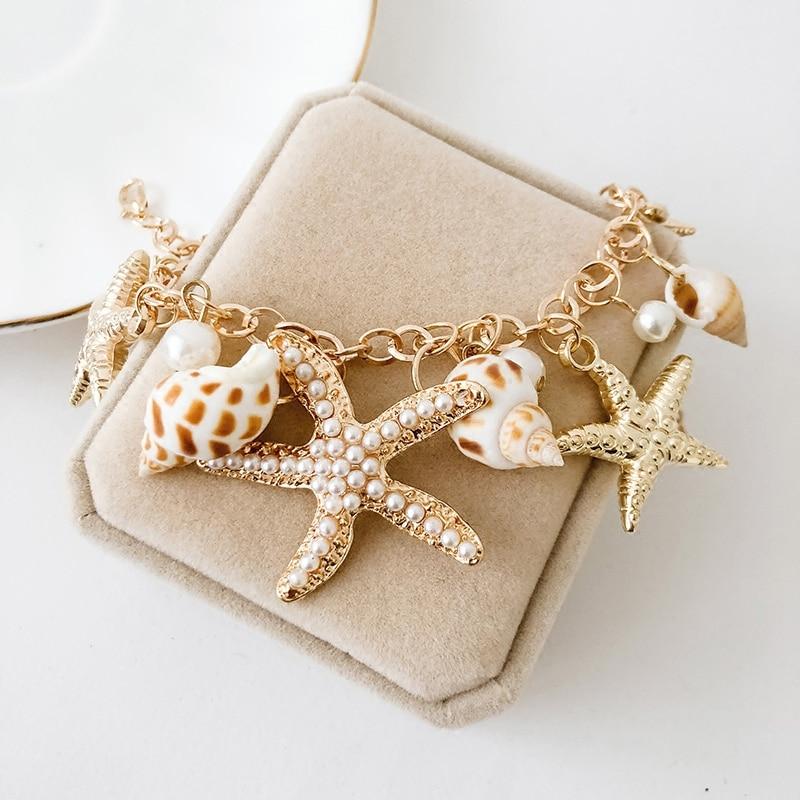 Korean Summer Fashion Ocean Style Multi Starfish Sea Star Conch Shell Pearl Chain Beach Bracelet Bangle Jewelry Style Beach