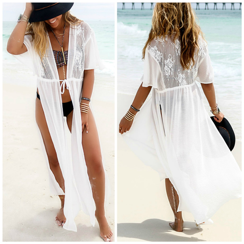 Sexy Chiffon bikini cover up Lace Maxi Dress Women bathing suit cover ups Summer pareo beach Long Dress swimwear Beachwear tunic