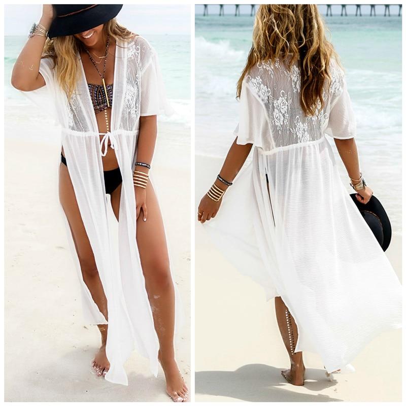 Sexy Chiffon bikini cover up Lace Maxi Dress Women bathing suit cover ups Summer pareo beach Long Dress swimwear Beachwear tunic