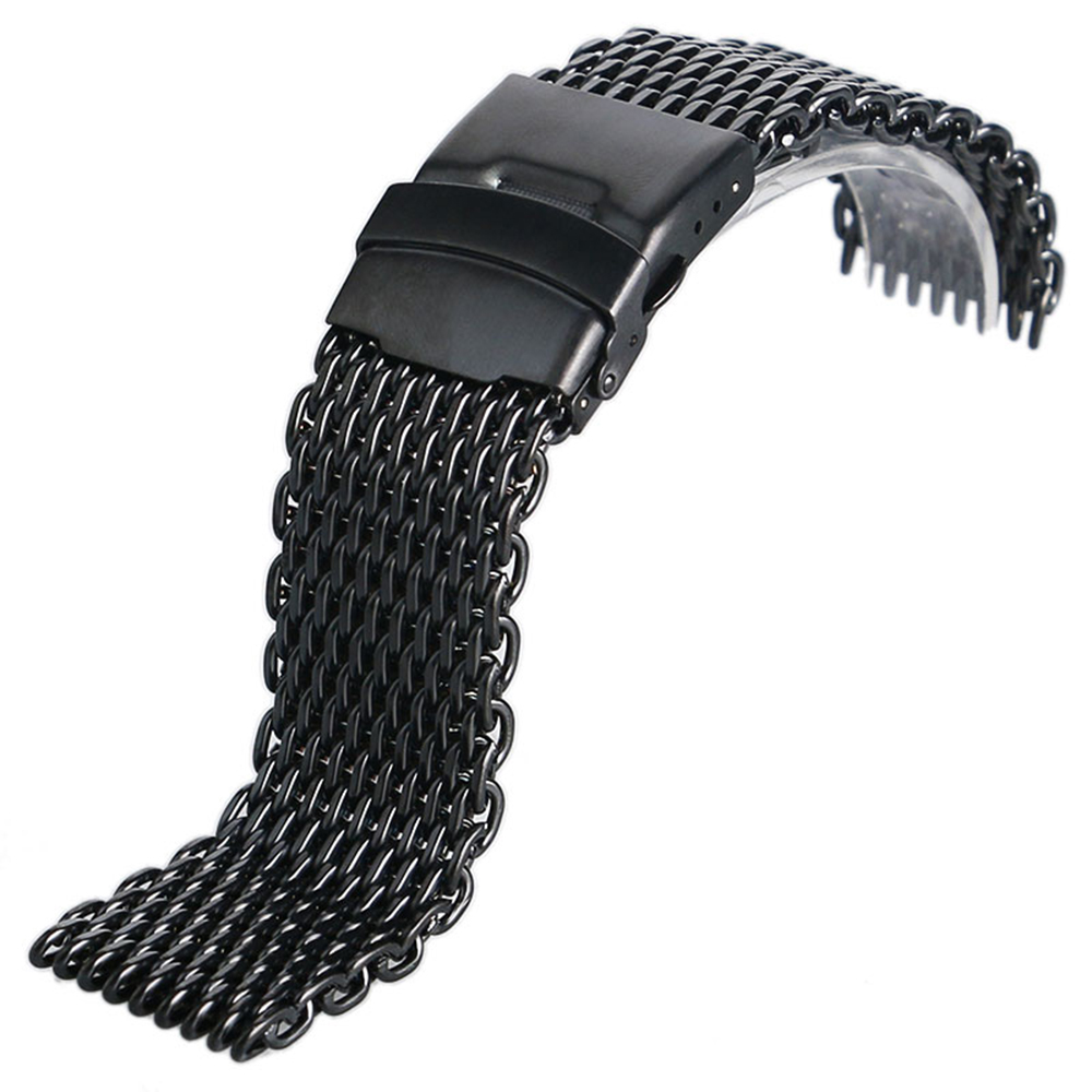 где купить Men Women Black Stainless Steel Iron Mesh Watch Strap 18mm 20mm 22mm 24mm Watch Band High Quality Bracelet Replacement по лучшей цене