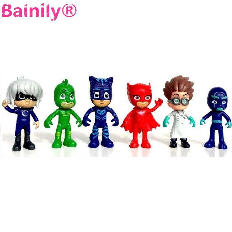 6pcs Cartoon pj mask Character Catboy Owlette Gekko Action Figures Toys Boys Birthday Gift Toy For Children pj masks