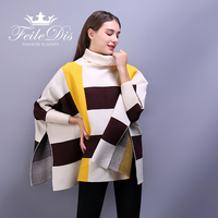 [FEILEDIS]2017 ladies fashion plaid scarf shawl unique design sleeves cloak wear shawl scarf FD104