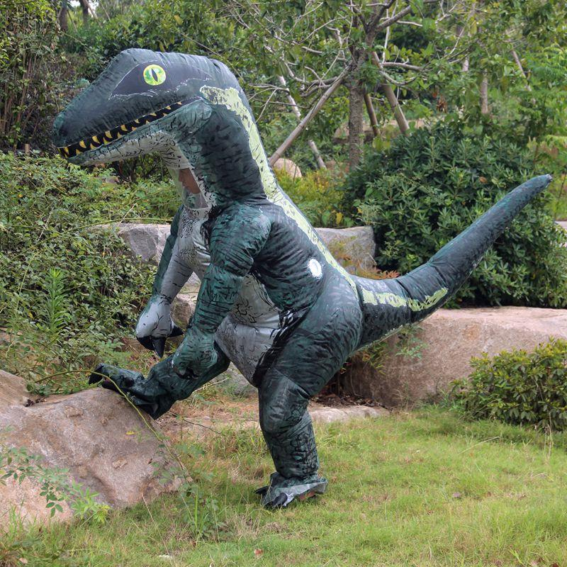 Dinosaur Costume Cosplay Fan Operated T Rex Inflatable Dinosaur Outfit Mascot Halloween Costume for Party Adult Dino Rider