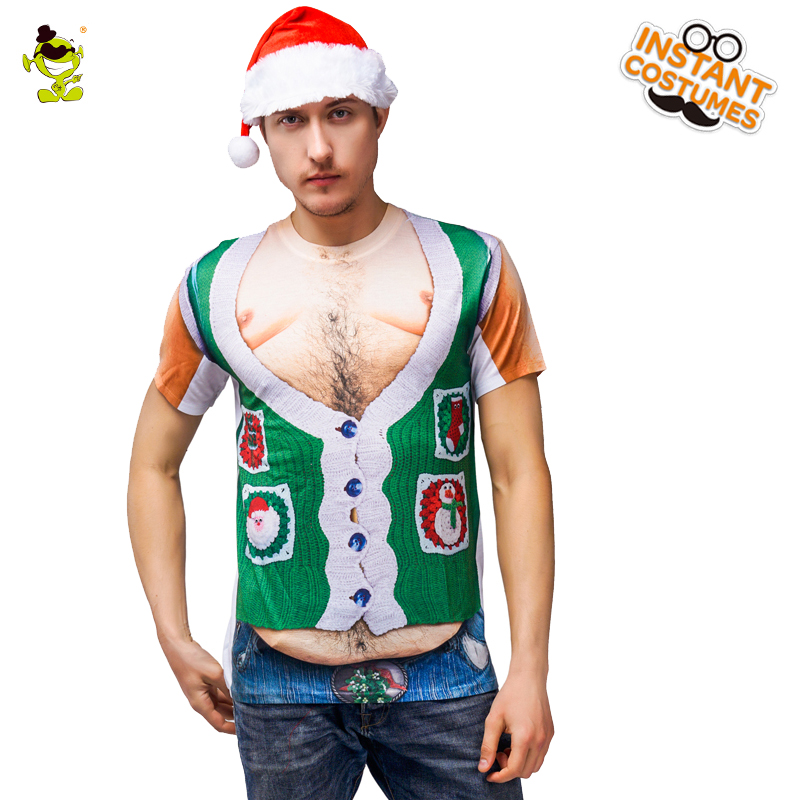 New Arrival Muscle Man Christmas T-shirt Green Flower Short Sleeve Slim Fitness Male Christmas Party 3 D Printed T-shirt Costume