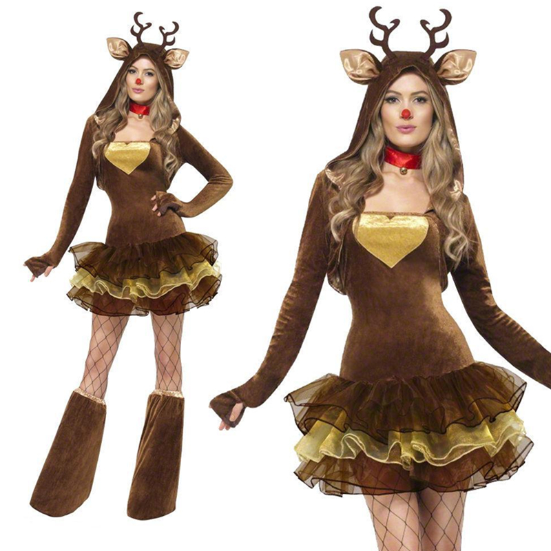 Women's Christmas Costume Reindeer Pretty Costume Cute Tutu Dress Style Adult Christmas Cosplay Costumes L70933