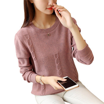 Sweater Women 2020 Autumn Winter Twist Lace Up Pullover Knit Sweater Loose Long Sleeves Women Tops Bottom Shirt Sweater