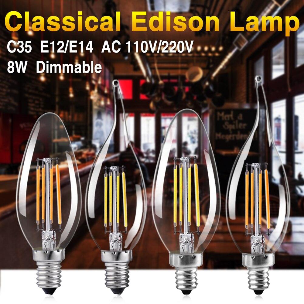 TSLEEN Retro Led Lamp AC 110V 220V E12 E14 Filament Led Bulb Light C35 8W Edison Dimmable Flame Candle Lampada Led Light
