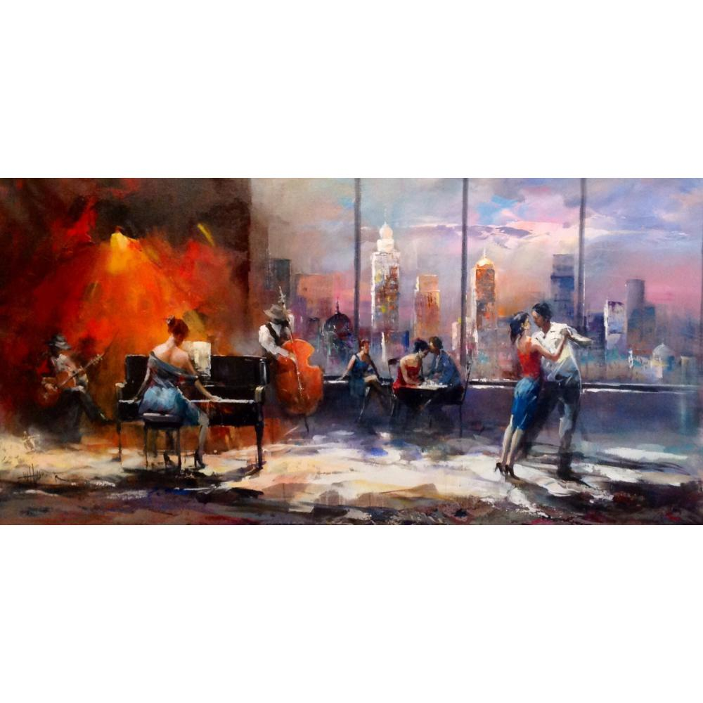 contemporary art Playing music with view on skyline Willem Haenraets Canvas oil paintings for living room handmade High qualitycontemporary art Playing music with view on skyline Willem Haenraets Canvas oil paintings for living room handmade High quality