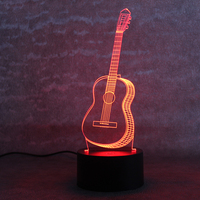 Creative Six Strings Guitar Lamp 3D Visual Table Lamp LED Colorful Changing Novelty Bedroom Bedside Night
