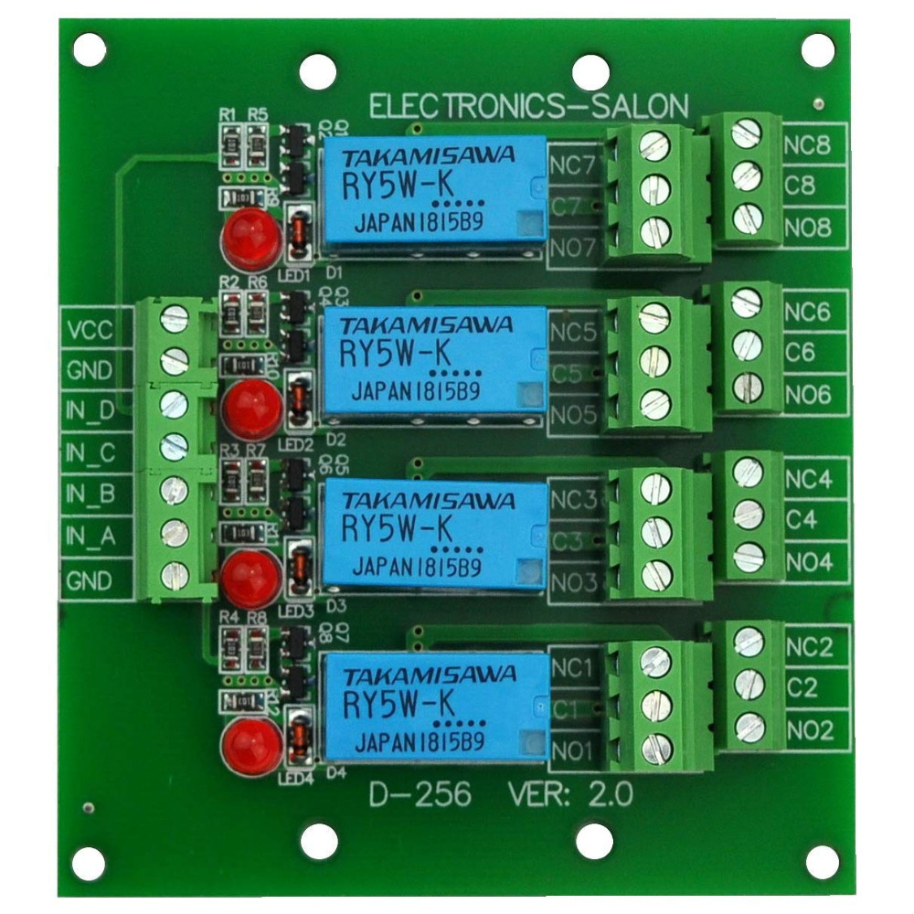 Electronics-Salon 4 DPDT Signal Relay Module Board, DC 5V Version, For Arduino Raspberry-Pi 8051 PIC.