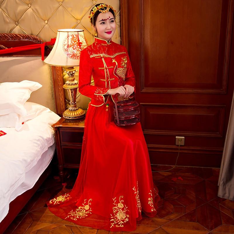 5ffb578d49223 Women Traditional Chinese Gown 2018 New Long Cheongsam Wedding Dress  Bridesmaid Bride Batch Loading Modern Qipao Dresses-in Cheongsams from  Novelty ...