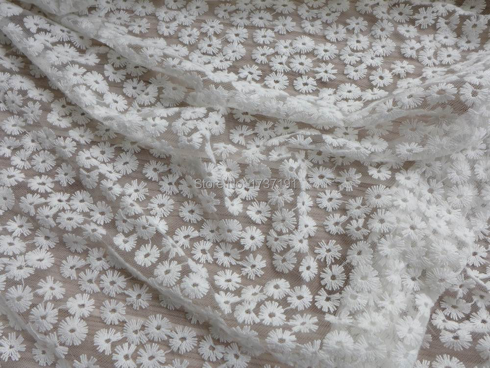 Off white lace fabric beautiful daisy floral fabric for Wedding dress lace fabric