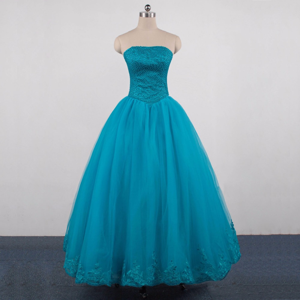 Elegant Hot Strapless A Line Sleeveless Top With Pearls Blue Tulle Prom Dresses 2017 New Floor Length Long Party