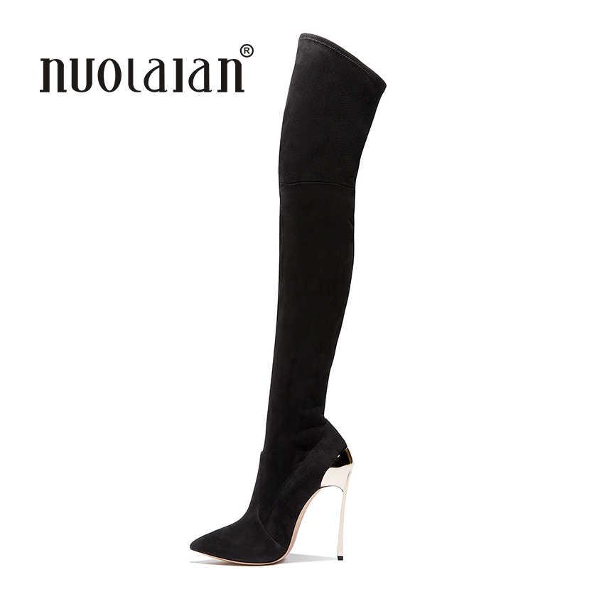 Женские ботфорты выше колена, замшевые ботфорты, коллекция 2018 года, осенне-зимние женские модные сапоги на высоком каблуке, женская обувь