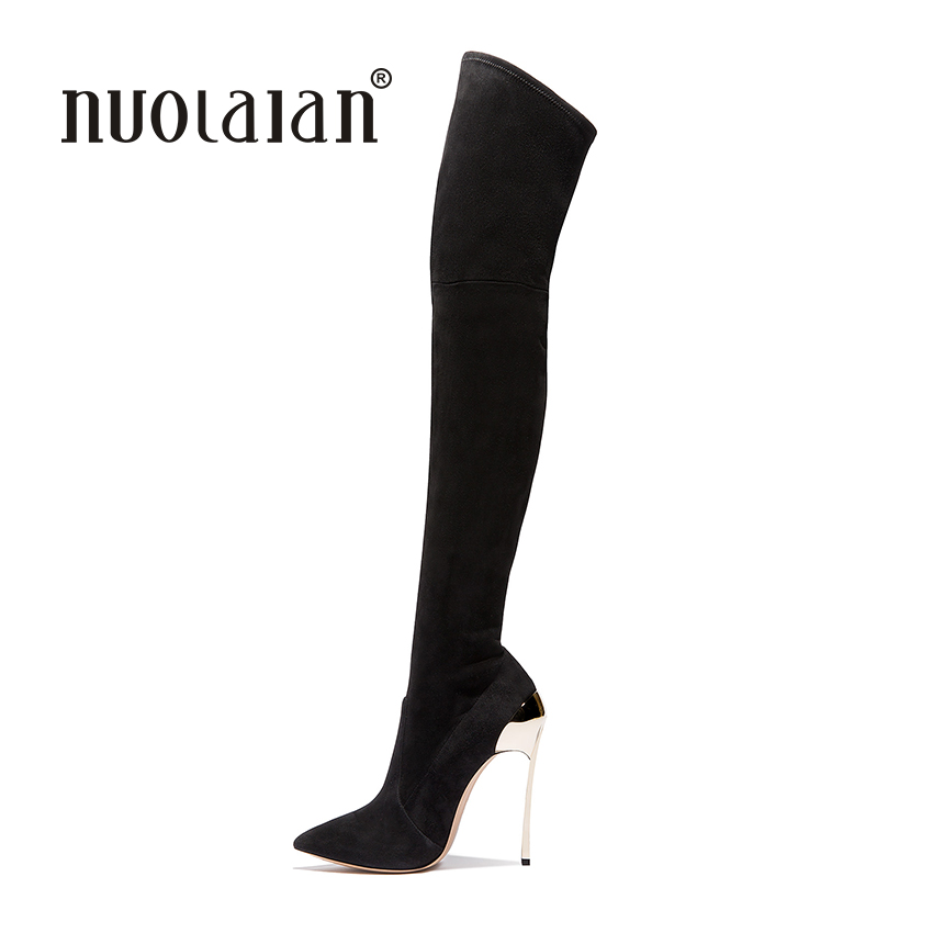 Women Over The Knee Boots Suede Thigh High Boots 2017 Autumn Winter Ladies Fashion High Heels Boots Shoes Woman 2017 winter cow suede slim boots sexy over the knee high women snow boots women s fashion winter thigh high boots shoes woman