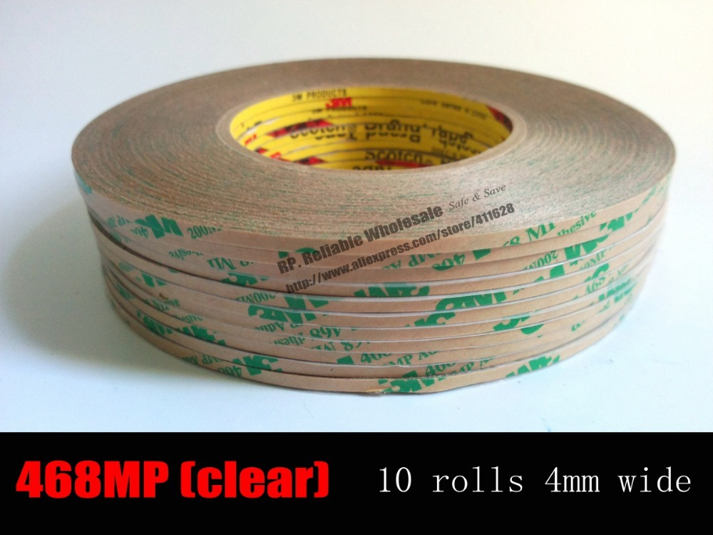 10 Rolls (4mm*55M 0.13mm) 3M 468MP High Performance Double Coated Adhesive Transfer Tape, Hi-temp. for Car Phone Panel Edge