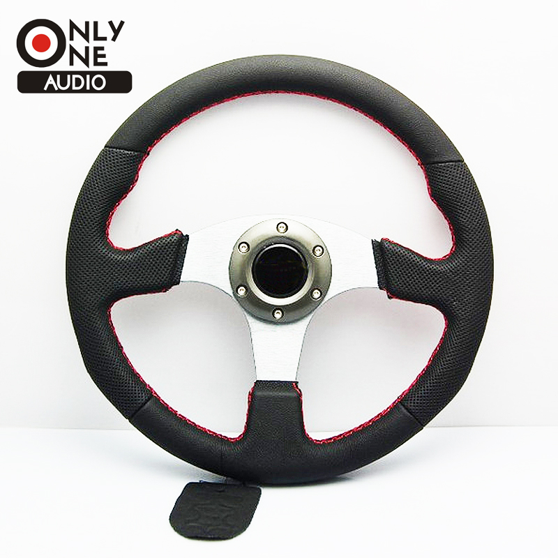 ONLY ONE AUDIO Universal 14 inch(350mm) Racing Sport MOMO Leather Cover Auto Steering Wheel with Horn Button for MOMO