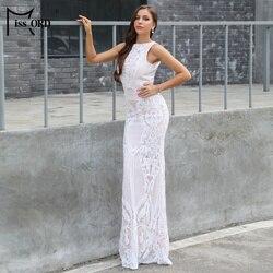 Missord 2020 Women Sexy O Neck Sleeveless Backless Retro Geometric Sequin Dresses Female Party Dress  FT18773-1