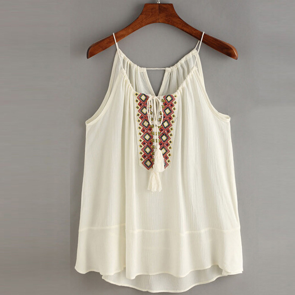 Tasselled Drawstring Neck Embroidered Cami Top Blouse Tank Shirts Boho Style New embroidery Clothes