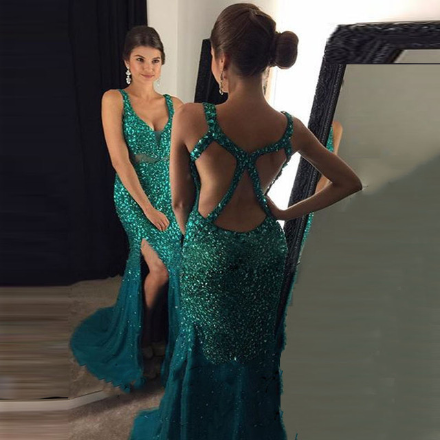 972c686d946 Luxury V Neck Prom Dress 2017 Beading Emerald Green Backless Long Sexy  Mermaid Side Split Gold Evening Party Gown vestido longo