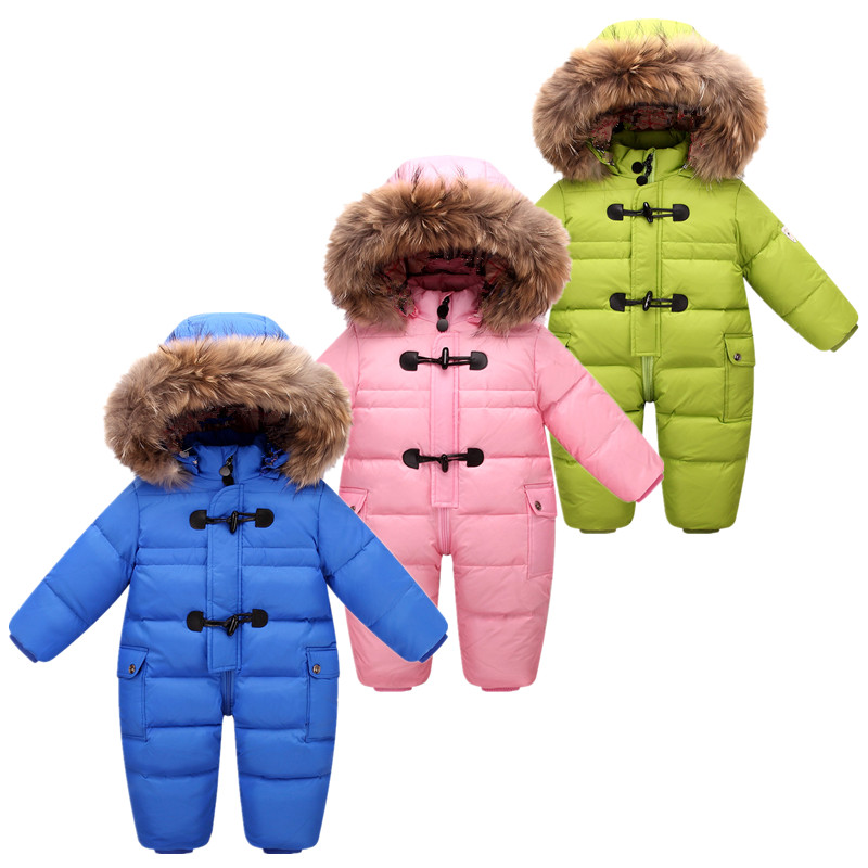 2017 NEW style Russian winter baby snowsuit 90% duck down jacket for girls coats warm Park for infant boy snow wear jumpsuit 2 5 years russian winter baby white duck down rompers with real fur hood outdoor skit snowsuit girls clothing infant boy romper