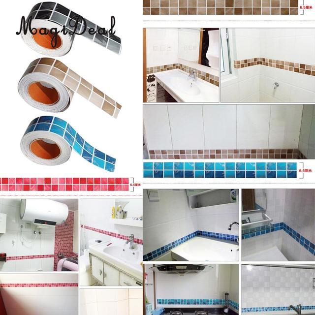Merveilleux 100cm X 6cm Self Adhesive Tile Stickers For Bathroom Kitchen Backsplash  Decoration Waterproof Removable Wall