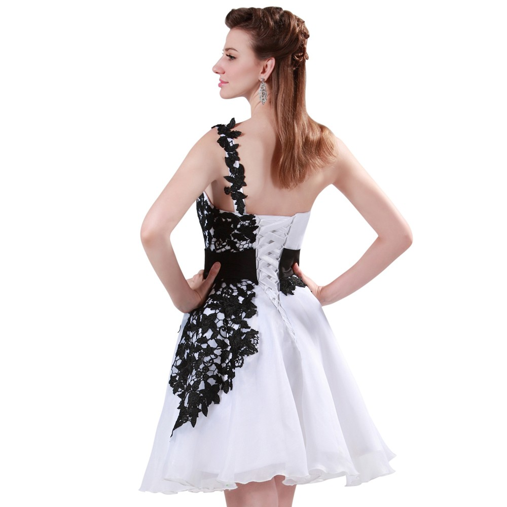 Grace Karin White and Black One Shoulder Lace Short Prom Dresses Ball Gown Knee Length School Party Dress Cute GK4288 9