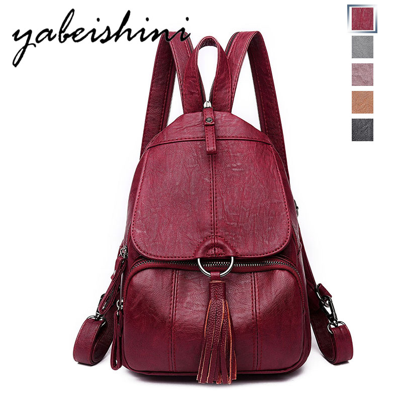 2019 Women Leather Backpacks Vintage Female Shoulder Bag Sac a Dos Travel Ladies Bagpack Mochilas School Bags For Girls Preppy2019 Women Leather Backpacks Vintage Female Shoulder Bag Sac a Dos Travel Ladies Bagpack Mochilas School Bags For Girls Preppy