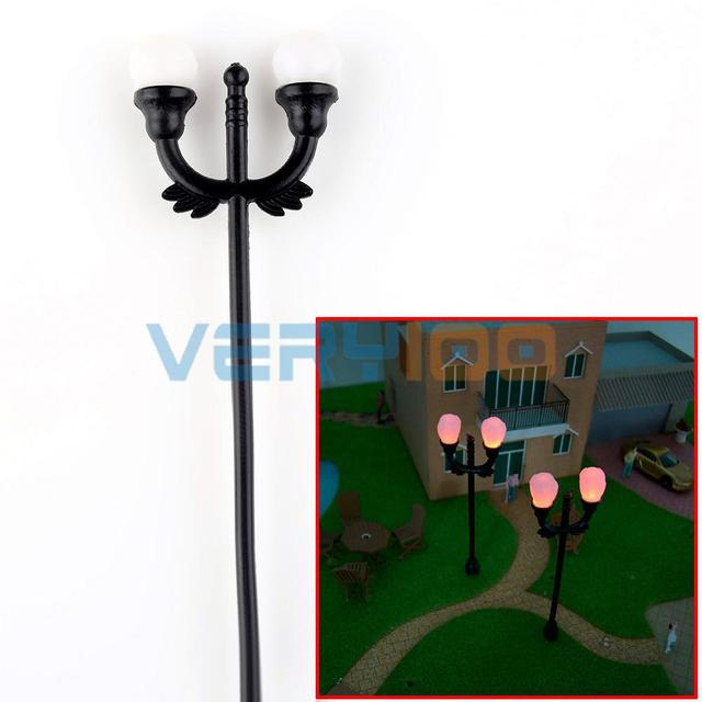 Free Shipping 20 pcs Model 1:100 HO Lighting 2 Lamp 6V Highway Street Railway Buildings Scale Layout