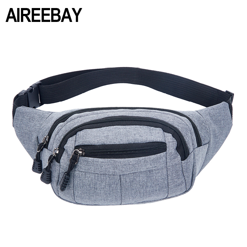 AIREEBAY Waist Pack For Men Women Fanny Pack Big Bum Bag Hip Money Belt Travel Bags Mobile Large Capacity 2019 Male Phone Bag