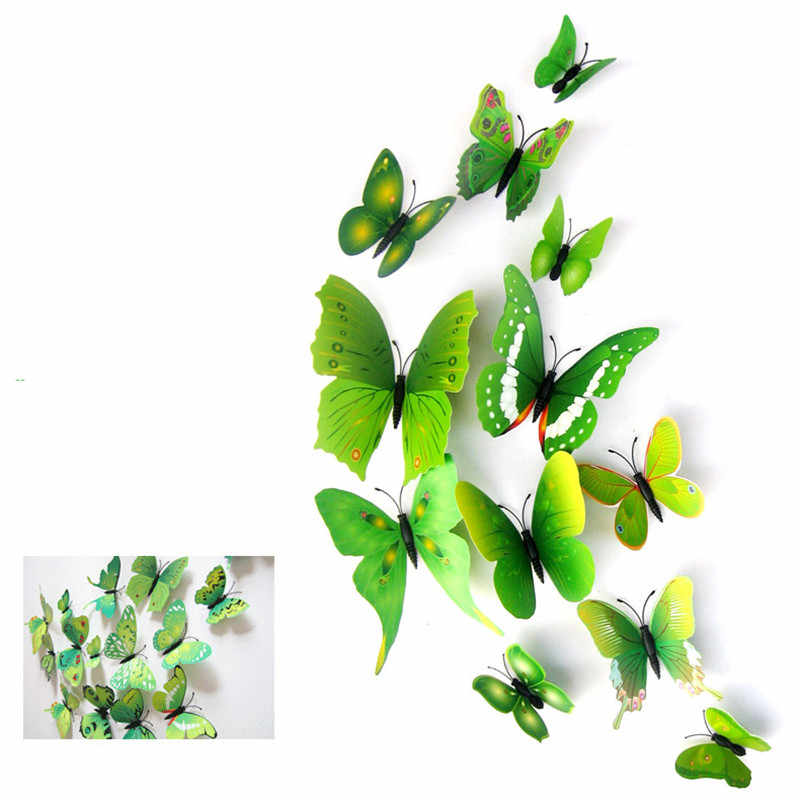 12 pcs 8 Kleuren 5 cm 3D Plastic Realistische Kunstmatige Vlinder In De Bruiloft Decoratie Huis DIY Scrapbooking Home Decoratieve