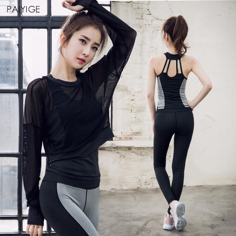 3 PCS Women Yoga Set for Running Mesh Long Sleeve Shirt Fitness Bra Yoga Pant Sportswear Gym Clothing Women Workout Set все цены