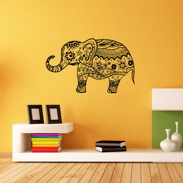 Vinyl Indian Elephant Pattern Wall Sticker Ganesha Art Decal Home Living Room Decoration Removable