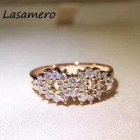 LASAMER 0.49CT Gecertificeerd Natuurlijke Diamant Ring Accenten 18 k Rose Gold Real Diamond Trouwring