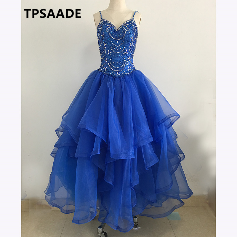 Modest Long Evening Dress blue tulle Long robe de soiree	kaftan 2017 Ball Gown crystal Prom Gown Elegant Formal Party Dresses