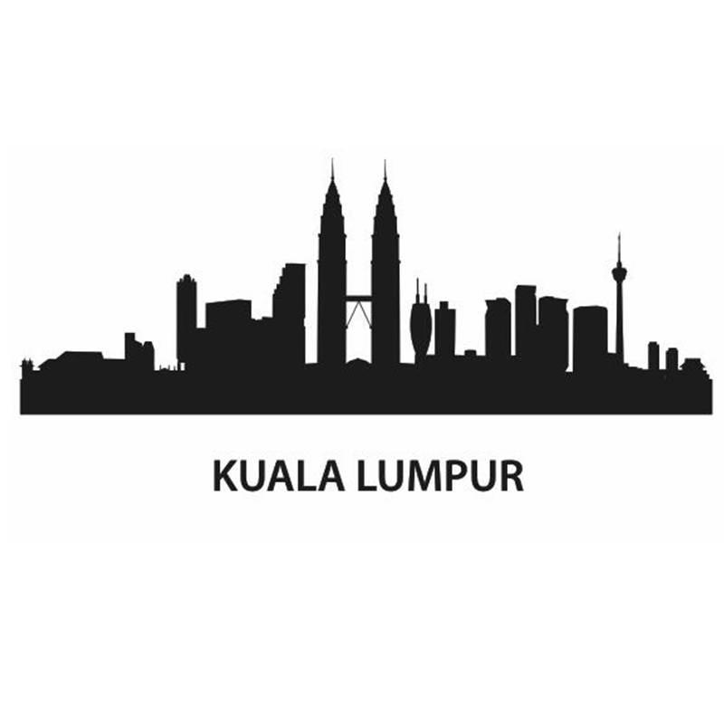 kuala lumpur city decal landmark skyline wall stickers sketch decals